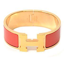 Hermes Gold Tone Hardware & Cloisonne Clic Clac Bangle Bracelet