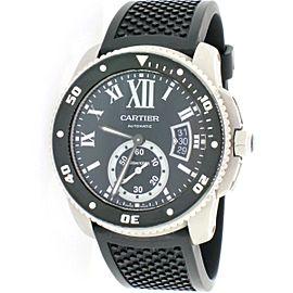 Cartier Calibre Diver Black Roman 42mm Automatic Watch W7100056