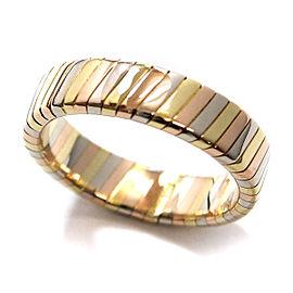 Bulgari Tubogas 18K Yellow, White & Rose Gold Ring Size 5