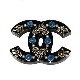 Chanel Resin with Simulated Glass Pearl Floral CC Pin Brooch