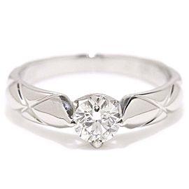 Chanel Matelasse Platinum 0.37ctw Diamond Ring Size 4