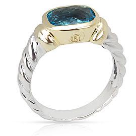 David Yurman Noblesse 18K Yellow Gold, Sterling Silver Topaz, Diamond Ring Size 8