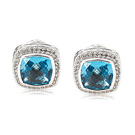David Yurman Albion Sterling Silver Blue Topaz and Diamond Earrings