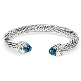 David Yurman Cable Sterling Silver Blue Topaz and Diamond Bracelet