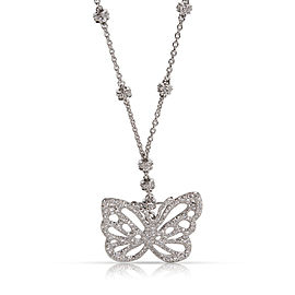 Tiffany & Co. Angela Cummings Diamond Butterfly Necklace Brooch Pendant 18K White Gold