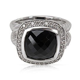 David Yurman Albion Sterling Silver Onyx and Diamond Ring Size 6