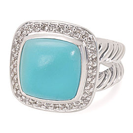 David Yurman Albion Sterling Silver Turquoise and Diamond Ring Size 7