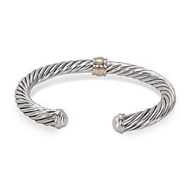 David Yurman Cable 18K Gold and Sterling Silver Diamond Bracelet