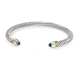 David Yurman Cable 14K Yellow Gold Sterling Silver Blue Topaz Bracelet