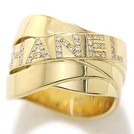 Chanel 18K Yellow Gold Diamond Ring Size 8.5