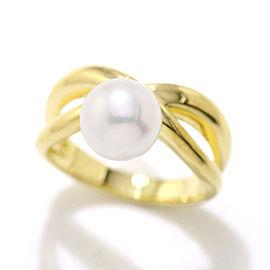 Mikimoto 18k Yellow Gold Akoya Cultured Pearl Ring Size 5