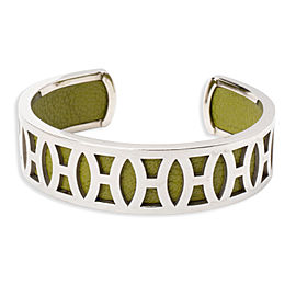 Hermes Leather Silver Tone Vintage Cuff