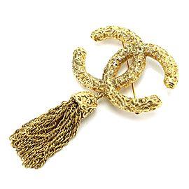 Chanel Gold Tone CC Logo Fringe Vintage Brooch