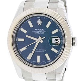 Rolex Datejust II 18K White Gold Stainless Blue Index Dial 41MM Automatic 116334