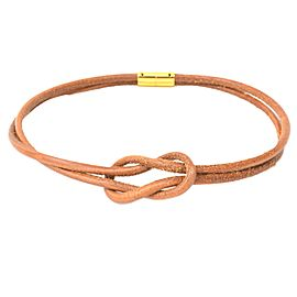 Hermes Gold Tone Metal Leather Necklace