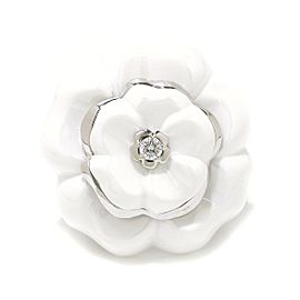 Chanel Camelia 18K White Gold Ceramic Diamond Ring Size 5.5