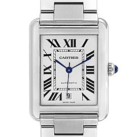 Cartier Tank Solo XL Silver Dial Steel Mens Watch W5200028