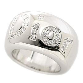 Christian Dior Logo Ring 18K White Gold Diamond Size 6.5