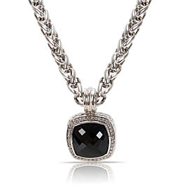 David Yurman Albion Sterling Silver Onyx Diamond Necklace