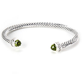 David Yurman Cable Classics Sterling Silver with Prasiolite & 0.10ct Diamonds Bangle Bracelet