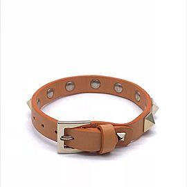 Valentino Leather Silver Tone Studded Bracelet