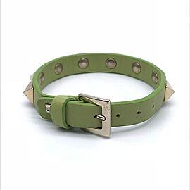 Valentino Green Leather Silver Tone Studded Bracelet