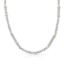 David Yurman Cable Bar Necklace in Sterling Silver & 18K Yellow Gold