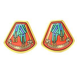 Hermes Gold Tone Metal Enamel Earrings