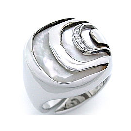 Damiani Sterling Silver Mother Of Pearl, Diamond, Pearl Ring