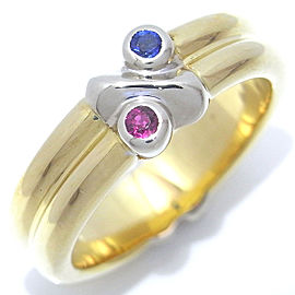 Tiffany & Co. 18k White and Yellow Gold Sapphire, Ruby Ring Size 4.5