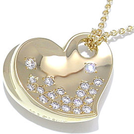Mikimoto 18K Yellow Gold 0.32ctw. Diamond Heart Pendant Necklace