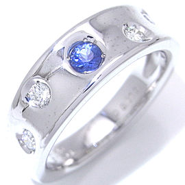 Mikimoto 18K White Gold with 0.13ct Blue Sapphire & 0.11ct Diamond Ring