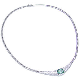 Mikimoto 950 Platinum Tourmaline & Diamond Choker Necklace
