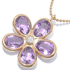 Tiffany & Co. Flower Garden Amethyst and Diamond 18k Rose Gold Pendant Necklace