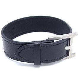 Hermes Silver Tone Leather Bracelet