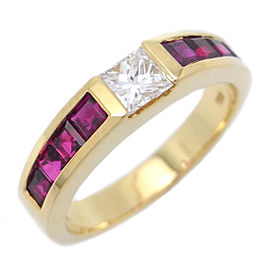 Tiffany & Co. 18k Yellow Gold Ruby and Diamond Ring Size 4.5