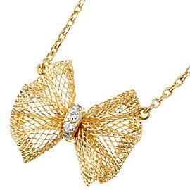 Van Cleef & Arpels 18K Yellow Gold Diamond Ribbon Pendant Necklace