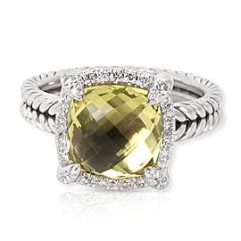 David Yurman Chatelaine Diamond and Lemon Citrine Sterling Silver Ring Size 5.25