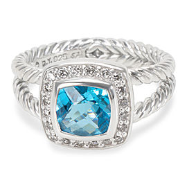 David Yurman Petite Albion Sterling Silver Blue Topaz and Diamond Ring Size 5