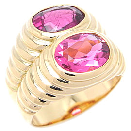 Bulgari 18k Yellow Gold Tourmaline Doppio Ring Size 6.25