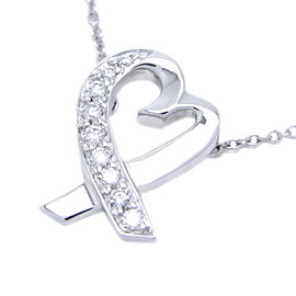 Tiffany & Co. Paloma Picasso Loving Heart Diamond 18k White Gold Pendant Necklace