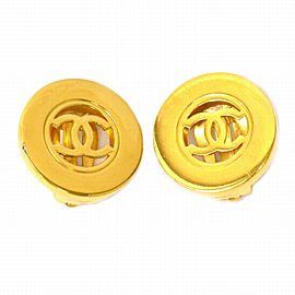 Chanel Gold Tone Hardware Vintage CC Ear Clip Earrings