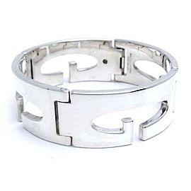 Gucci G Motif Sterling Silver Wide Band Bracelet