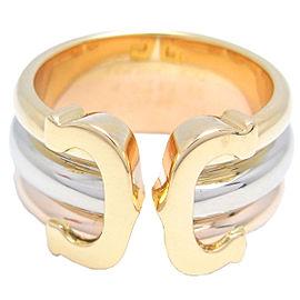 Cartier 2C Ring 18k Tri-Color Gold Size 4.5
