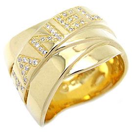 Chanel Bolduc 18K Yellow Gold Diamond Ring Size 6.75
