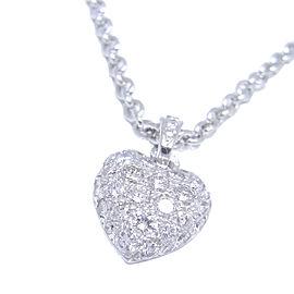 Cartier Heart Pendant Necklace 18k White Gold Pave Diamonds