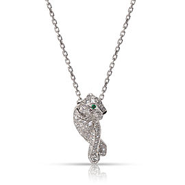 Cartier Panthere Necklace 18K White Gold Diamond Emerald