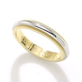 Tiffany & Co. 18K Yellow Gold & 950 Platinum Milgrain Band Ring Size 5.5