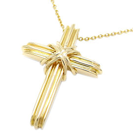 Tiffany & Co. 18k Yellow Gold Signature Cross Pendant Necklace