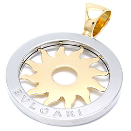 Bulgari Tondo Sun 18k Yellow Gold and Stainless Steel Pendant